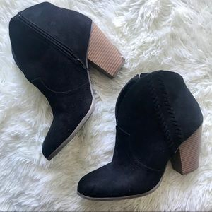 Lane Bryant Suede Braided Ankle Boots in Black